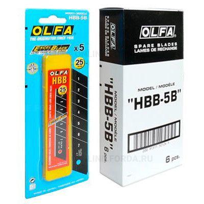 """Лезвие OLFA OL-HBB-5B """"BLACK MAX"""" сегментированное, 5 шт, 25х126х0,7 мм"""