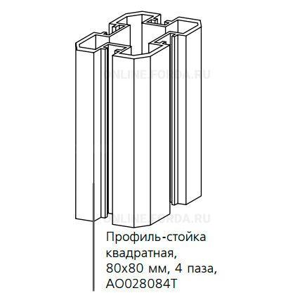 Профиль-стойка 80*80 4 паза