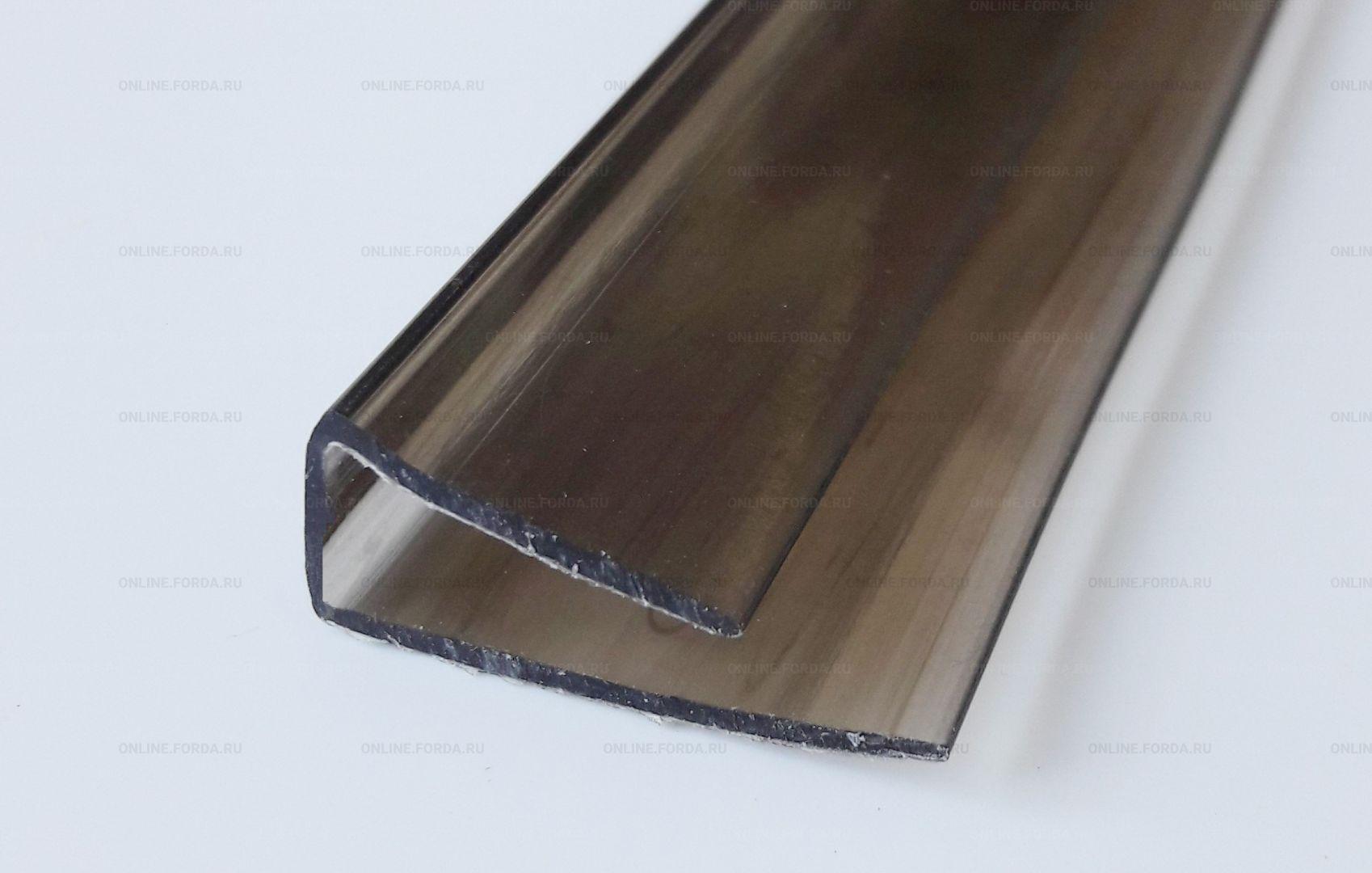 Профиль торцевой поликарбонатный U-образный 4 мм