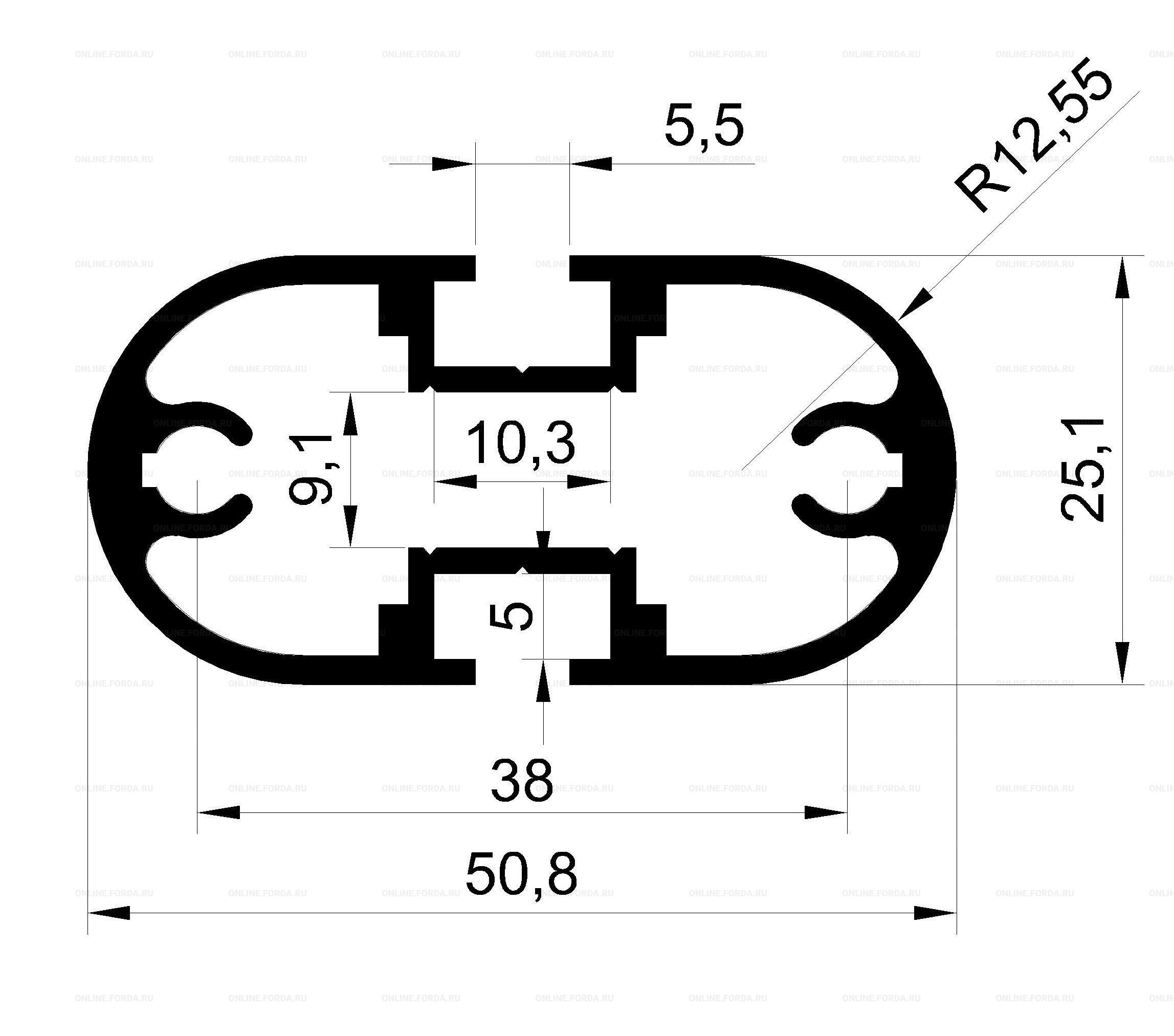 Профиль-стойка овальная с двумя пазами