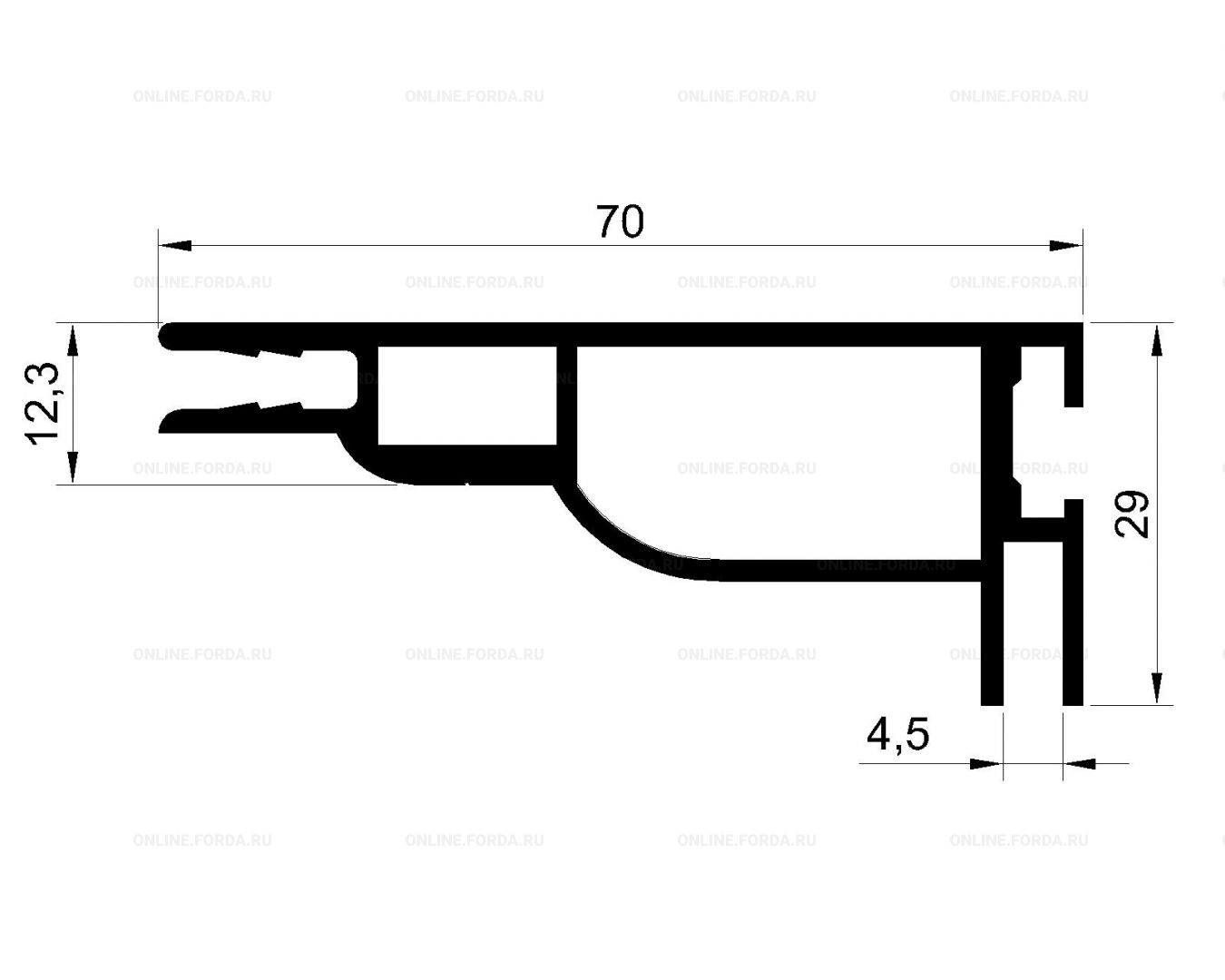 Система профилей для изготовления короба с натяжением текстиля